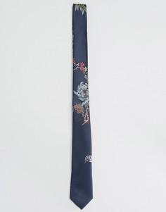 Узкий галстук с цветочной вышивкой ASOS - Темно-синий