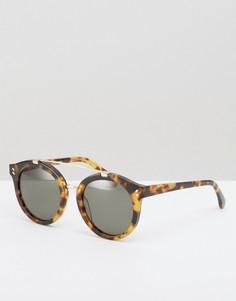 Круглые солнцезащитные очки с металлической планкой Stella McCartney - Коричневый