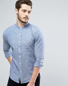 Обтягивающая рубашка из шамбре с воротником на пуговицах Abercrombie & Fitch - Синий