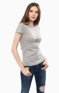 Серая футболка из хлопка с принтом Guess
