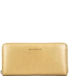 Золотистый кошелек из сафьяновой кожи Coccinelle