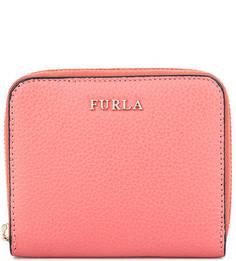 Кожаный кошелек на молнии красного цвета Furla