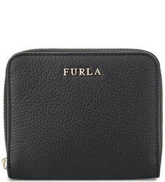 Черный кожаный кошелек на молнии Furla
