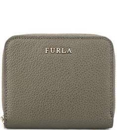 Кожаный кошелек на молнии цвета хаки Furla