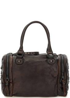 Коричневая кожаная сумка с декором Campomaggi