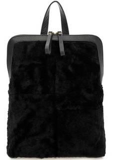 Черная меховая сумка-рюкзак с одним отделом Io Pelle