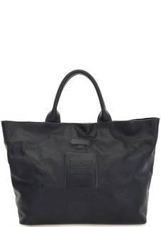 Синяя кожаная сумка с короткими ручками Io Pelle