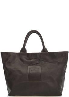 Коричневая кожаная сумка с короткими ручками Io Pelle