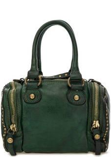 Маленькая кожаная сумка зеленого цвета Campomaggi