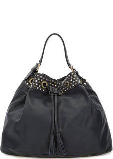 Синяя кожаная сумка с металлическим декором Io Pelle