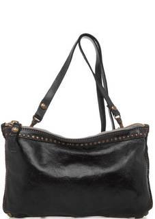 Черная кожаная сумка через плечо Campomaggi