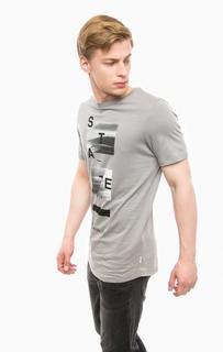 Серая футболка с принтом Jack & Jones