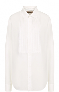 Хлопковая блуза прямого кроя с планкой Burberry