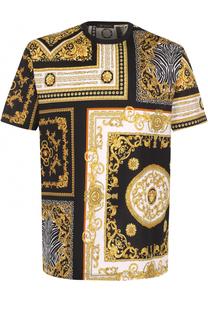 Хлопковая футболка с контрастным принтом Versace