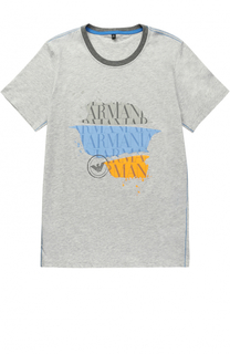 Хлопковая футболка с принтом Giorgio Armani