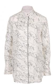 Шелковая блуза свободного кроя с принтом Victoria by Victoria Beckham