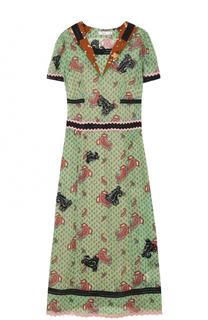 Приталенное платье-миди с принтом и вышивкой Coach