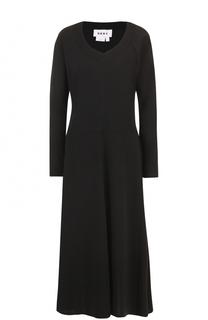 Приталенное платье-миди с длинным рукавом DKNY