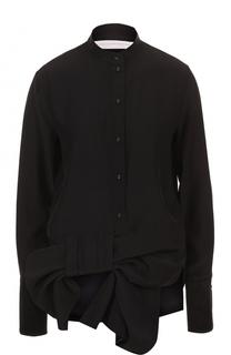 Шелковая блуза прямого кроя с бантом Victoria by Victoria Beckham