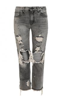 Укороченные джинсы с потертостями R13