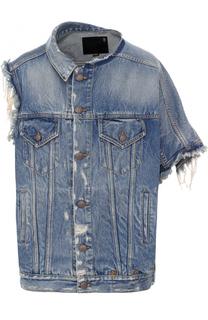 Джинсовая куртка асимметричного кроя с потертостями R13