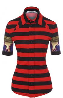 Приталенная блуза в полоску с укороченным рукавом Givenchy