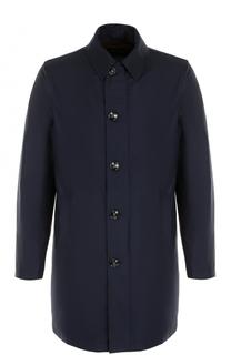 Шерстяное однобортное пальто на молнии с отделкой из натуральной кожи Kiton
