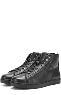 Высокие кожаные кеды на шнуровке с внутренней меховой отделкой Gianvito Rossi