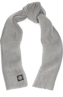 Шерстяной шарф фактурной вязки Stone Island