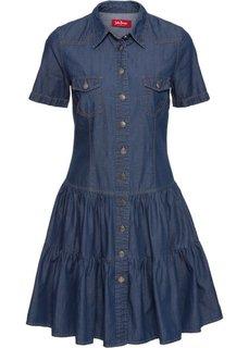 Джинсовое платье на пуговицах (синий) Bonprix