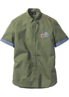 Рубашка Regular Fit с коротким рукавом (оливковый) Bonprix