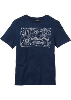 Прямая футболка с принтом (темно-синий) Bonprix