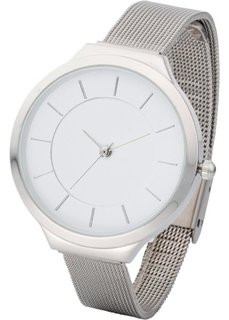 Металлические часы на браслете из смешанного материала (серебристый) Bonprix