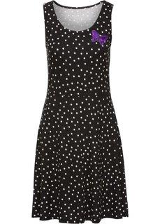Трикотажное платье (черный/белый в горошек) Bonprix
