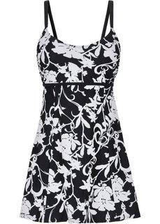 Формирующее купальное платье (черный/белый) Bonprix