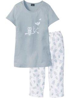 Пижама с брюками капри (серый/белый) Bonprix