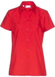 Однотонная блузка с короткими рукавами (клубничный) Bonprix