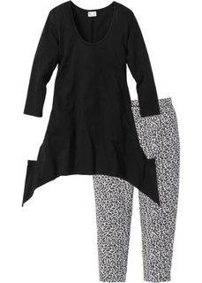 Пижама с легинсами капри (черный с рисунком) Bonprix