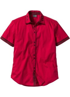 Рубашка Slim Fit с коротким рукавом (темно-красный) Bonprix