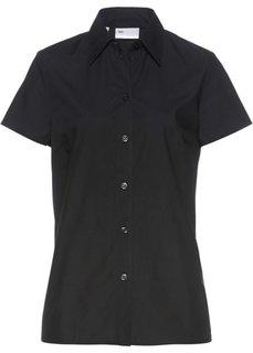 Однотонная блузка с короткими рукавами (черный) Bonprix