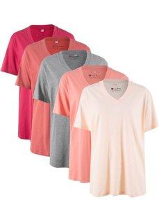 Удлиненная футболка с коротким рукавом (5 шт.) (кремово-розовый + персиковый + цвет ревеня + красный гранат + светло-серый меланж) Bonprix
