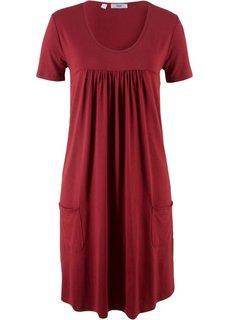 Трикотажное платье-блузон с коротким рукавом (красный) Bonprix