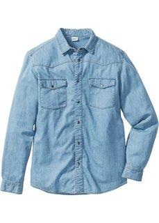Джинсовая рубашка зауженного покроя (нежно-голубой) Bonprix