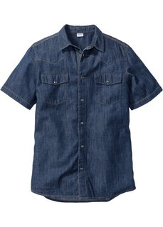 Джинсовая рубашка зауженного покроя (темно-синий) Bonprix