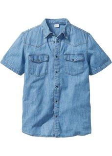 Джинсовая рубашка зауженного покроя (синий) Bonprix