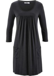 Трикотажное платье с рукавами 3/4 (черный) Bonprix