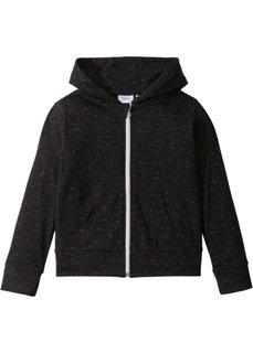 Трикотажная куртка меланжевой расцветки (черный меланж) Bonprix