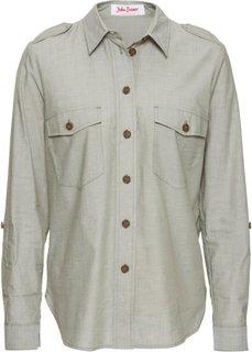 Удлиненная блуза с длинным рукавом с подворотом (оливковый) Bonprix