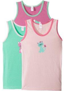 Майка (3 шт.) (нежно-розовый + ярко-розовый матовый + мятный) Bonprix