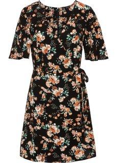 Платье с эффектом запаха (черный с рисунком) Bonprix